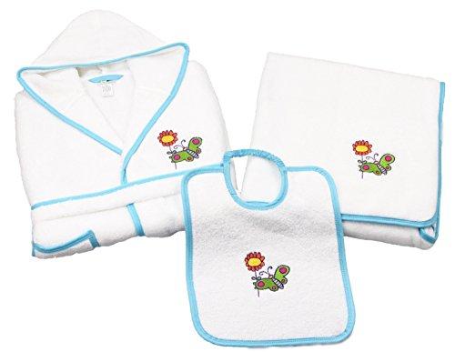 Bambino bambini accappatoio Set con asciugamano e bavaglini larghi in delicato sulla pelle in spugna, Spugna, Bianco / blu, 36M