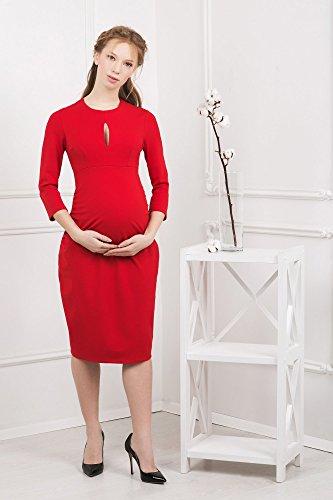 Abito prémaman Ornella vestito midi maternità casual con maniche 3/4 da Nothing But Love (38, Rosso)