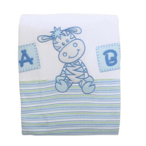 Coperta 100% Cotone con Giraffa Ricamata - Bambino (Taglia Unica) (Bianco e Blu)