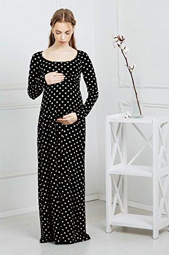 Abito prémaman Agnese vestito maternità a pois con maniche lunghe da Nothing But Love (38, Bianco e nero)
