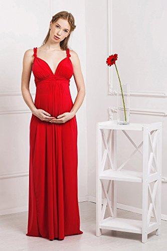 Abito prémaman maxi Luisa vestito da sera per gravidanza e allattamento senza maniche da Nothing But Love (44, Rosso)