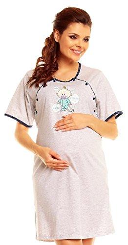 Zeta Ville - Camicia notte pois prémaman gravidanza allattamento - donna - 388c (Marina, 44)