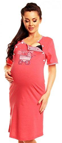 Zeta Ville - Camicia notte pois prémaman gravidanza allattamento - donna - 395c (Corallo, 48)