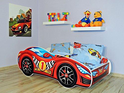 Letto singolo BAMBINO CAMERETTA LETTINO AUTO bambini con materasso !!! (AUTO ROSSA)