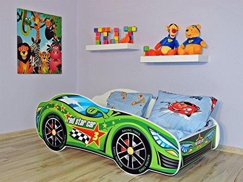 Letto singolo BAMBINO CAMERETTA LETTINO AUTO bambini con materasso !!! 160x80 !! (AUTO 6 COLORE) (AUTO VERDE)