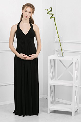 Abito prémaman maxi Valeria vestito da sera per gravidanza e allattamento halter cinture senza maniche da Nothing But Love (38, Nero)