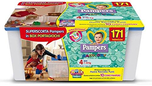 PAMPERS BABY DRY TAGLIA 4 MAXI 7-18 KG SUPERSCORTA 171 PANNOLINI BOX OMAGGIO