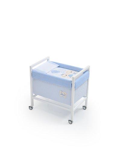 Interbaby - 91162 - Culla Quadrato in legno - Azzurro, Blu (Blau),