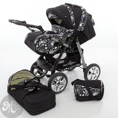 Milk Rock Baby Star Cruiser 2 in 1 carrozzina passeggino combinato (parapioggia, zanzariera, 30 colori) 01 nero & cranio