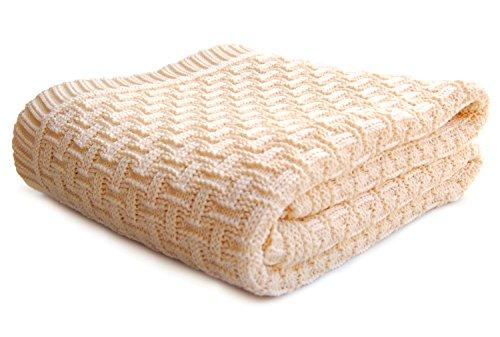 SonnenStrick 3009002 Coperta per bambini lavorata a maglia, 100 % cotone bio, 100 x 90 cm, Beige (natur)